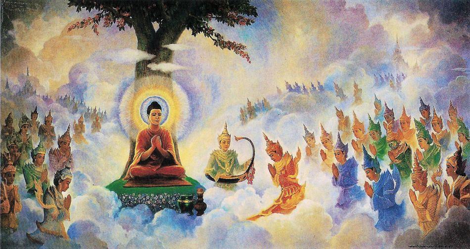 Buddha teaching Abhidharma in Trayamstrimsa-edited